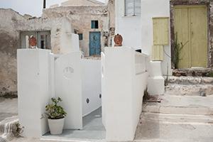 The village of Megalochori in Santorini
