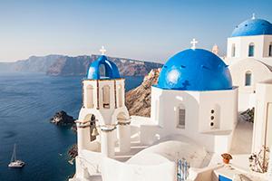 Blue dome in Oia Santorini