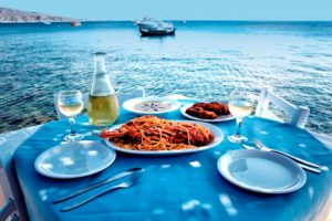Amazing seafood and view in Santorini