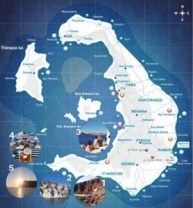 Sailing tour map of Santorini